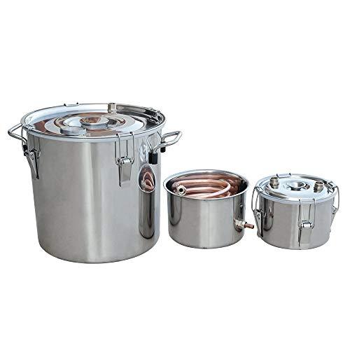 DC HOUSE - Equipo de destilación de Caldera de Acero Inoxidable, Acero Inoxidable y Cobre Puro con termómetro (18 l, 3 potes)