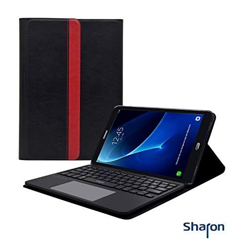Leicke Sharon SI54310 Samsung Galaxy Tab A 10.1 (2016) T580N, T585N Bluetooth Tastatur Schutzhülle mit Multitouch-Touchpad, deutsches QWERTZ-Layout, [NICHT für S-Pen-Modelle]
