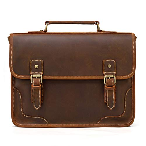 Laptop Messenger Satchel Bag Briefcase Handbag, Mens 13inch Laptop Portfolio Crossbody Shoulder Handbag Crazy Horse Leather Messenger Bag British Style Business Briefcase PC Netbook Classic Stylish Vi