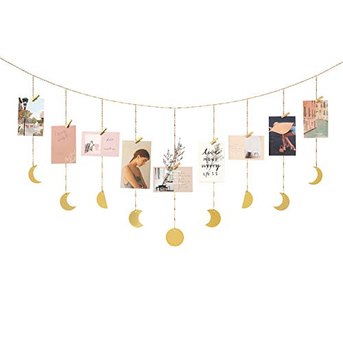 Mkono Hanging Photo Display Moon Phase Wall Hanging Wood Moon Garland Picture Frame Collage with 25 Wood Clips Boho Home Decor for Dorm Bedroom Living Room Apartment Nursery, Gold