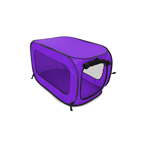 Beatrice Home Fashions SOLPPK00PUR Pop Up Pet Kennel Portable Pet Kennel Cage, Purple Basic Crates Dog Habitats Houses non-Prime pets Shipping Supplies Top