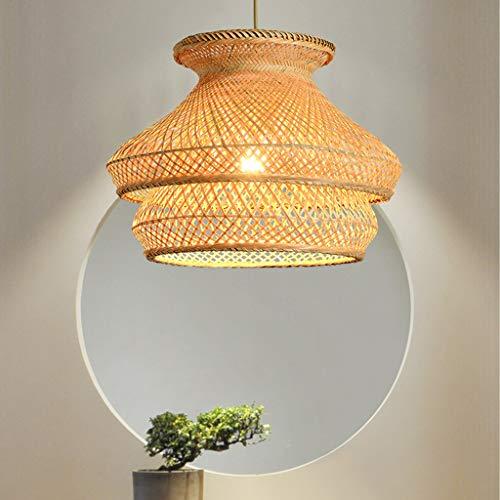 Lámpara de ratán Creatividad Cuerda de cáñamo Araña tejida E27 Lámpara colgante de fibra vegetal Diseñador nórdico Linterna de bambú Sala de estar Lámpara colgante Ratán tejido