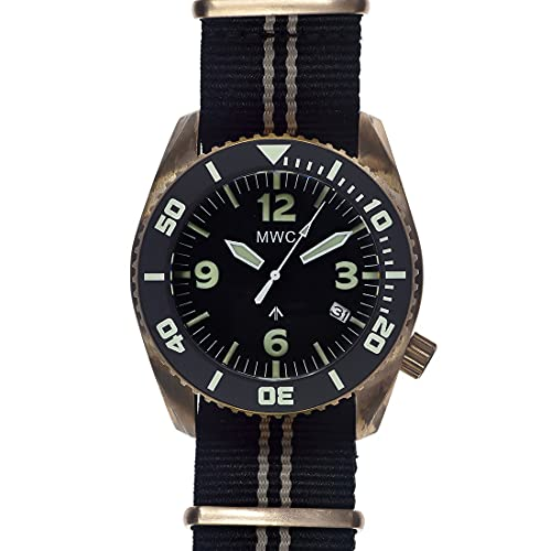 MWC Limited Edition Bronze MWC Depthmaster 100atm Automático Negro Fecha Bronce Tela NATO Diver Reloj Hombre