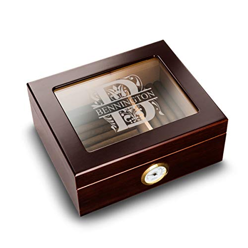 Personalized Humidor Cigar Wooden Box (Filigree Design) - Case Storage for 50 Cigars and with Humidifier, Engraved with Monogram | Birthday and Christmas Gift for Him, Dad, Boyfriend, Grandpa