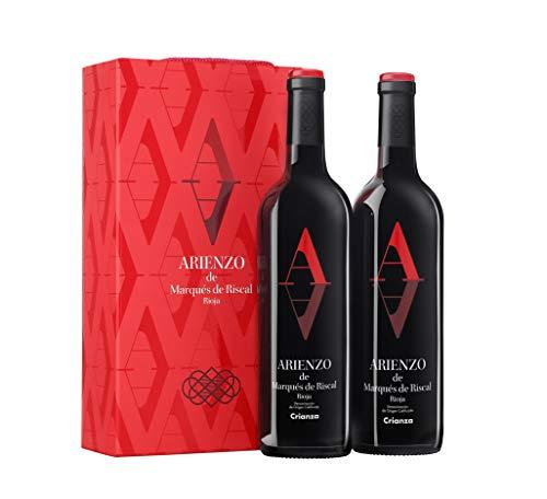Arienzo de Marqués de Riscal - Vino tinto Crianza Denominación de Origen Calificada Rioja, Variedad Tempranillo, 18 meses en barrica - Estuche 2 botellas x 750 ml - Total 1500 ml 🔥
