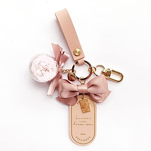 XIAOQIAO Llavero de Cuero de la Flor Inmortal, Llavero del Coche, Llavero de la Pulsera, Adecuado para Mujeres y niñas (Color : Pink)