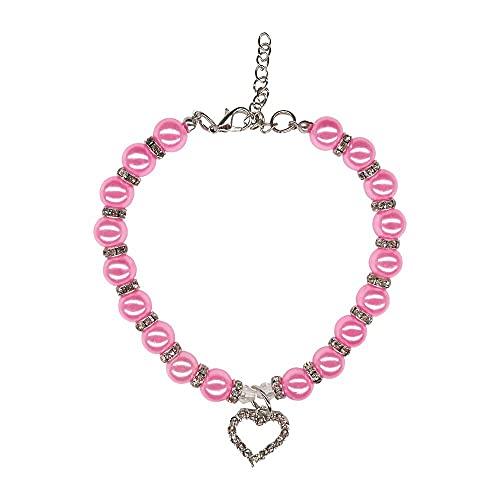 Collar de perlas para perros, lindo collar de perlas con cristal, collar ajustable de perlas de mascota para gato, collar de perlas de cuero con cristal, collar de perlas de perro - rosa, talla L