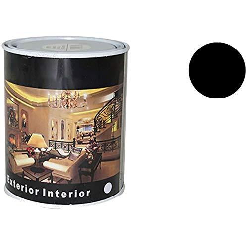 Pintura Esmalte al Disolvente para Madera y Metal, Pintura Alquidica de Rápido Secado para Superfícies Interiores y Exteriores(Negro Satinado, 375 ML)