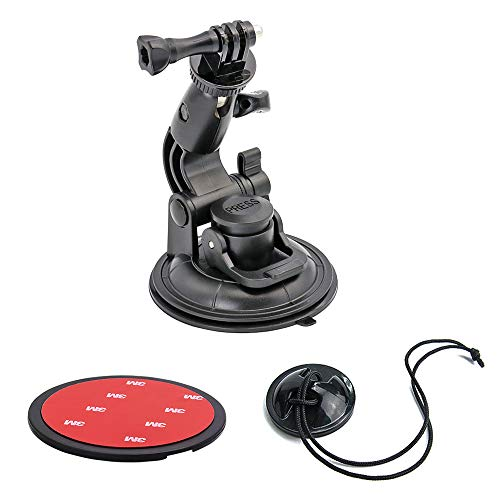 DSLR Camera Scution Cup Mount for Car Windshield, EXSHOW Camera Mount with 3M Sticky Pad for Nikon Canon Sony Pentax Olympus KamKorda and other Cameras