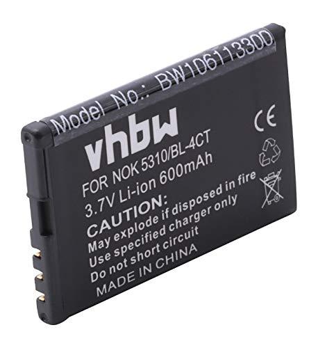 Batería Li-Ion 600mAh 3,7V Compatible con Nokia XpressMusic 5310 5630, Supernova 7210 7310 7230, Fold 2720 6600, Nokia X3.Sustituye la batería BL-4CT.