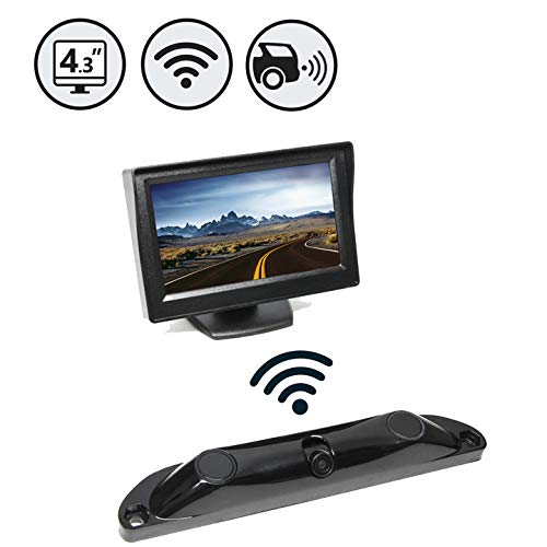 "Wireless Backup Camera System with Built-in Sensors and 120° Viewing Angle + 4.3"" TFT LCD Monitor - Waterproof"