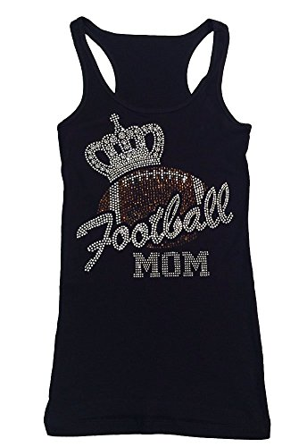 Womens Fashion T-Shirt with Football Mom with Crown in Rhinestones (3X, Black Tank Top)