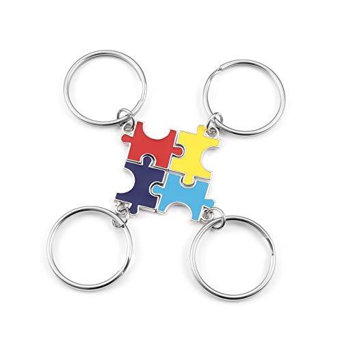 JOVIVI 4 x Schlüsselanhänger mit passendem Puzzle-Anhänger, BBF, Freundschaft, Familie, Geschenke Gr. One size, regenbogenfarben