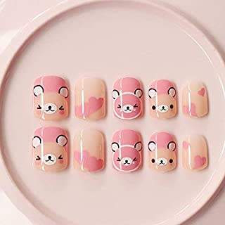 24Pcs Pink Bear Carton Short False nails for Little Girls and Small Hand Adults