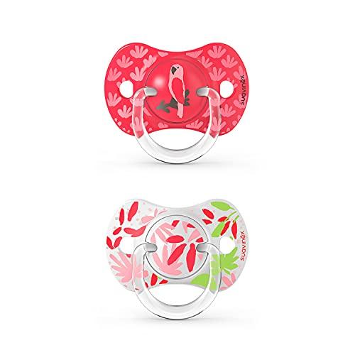SUAVINEX Pack 2x Chupetes Fisiológicos Sx Pro, Para Bebés 6-18 Meses, Chupetes Con Tetina Anatómica Silicona Sx Pro, Tetina Más Plana Y Flexible, Rosa, 307337, color Rosa, 6-18 Meses, 43 g - Pack de 2