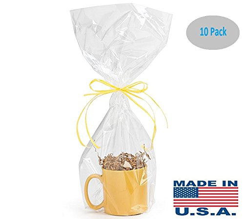 10 Pack BOPP Clear Cello Cellophane Bags Gift Basket Package Flat Gift Bags BOPP Bags (9 in X 20 in) Made in USA