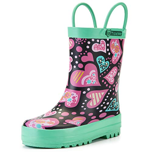 TIDEWE Rain Boots for Kids and Toddlers, Children Natural Rubber Rain Boots with Easy-On Handles, Waterproof Lightweight Kids Rain Boots in Fun Patterns for Boy and Girls (Robot Size 11)