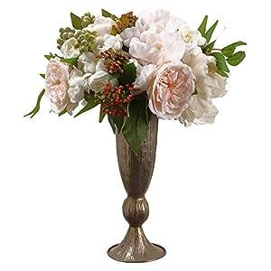 SilksAreForever 16″ Hx12 W Silk Peony & Ranunculus Flower Arrangement w/Vase -White/Pink