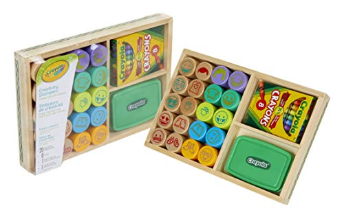 Crayola Wooden Stamp & Color Activity, Educational Toys, Gift for Toddlers, 30Piece, Creativity Stampers