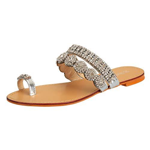 SheSole Damen Sandaletten – Flache Damen-Sandalen mit Strasssteinen, modische Zehentrenner als Flip-Flops, Farbe Silber/Weiß
