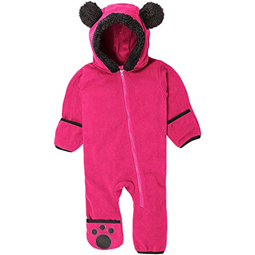 Pijama para bebé recién nacido, súper suave, de una sola pieza, mono con capucha para niños (3 meses a 3 años), hot pink, 24 meses
