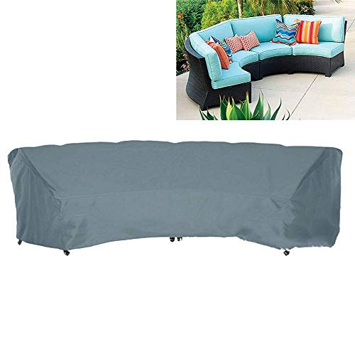 SFSGH Garden Curved Sofa Cover 210D Oxford Waterproof Sectional Curved Sofa Protector Half-Moon Outdoor Furniture Cover,Gray,305x99x91cm