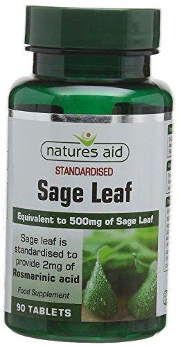 Natures Aid Sage Leaf 50 mg, 2 mg Rosamarinic Acids, Vegan, 90 Tablets