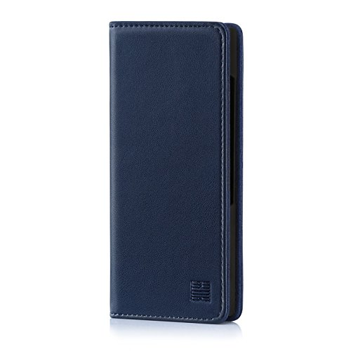 32nd Classic Series - Real Leather Book Wallet Case Cover for BlackBerry Key2, Real Leather Design with Card Slot, Magnetic Closure and Built in Stand - Navy Blue