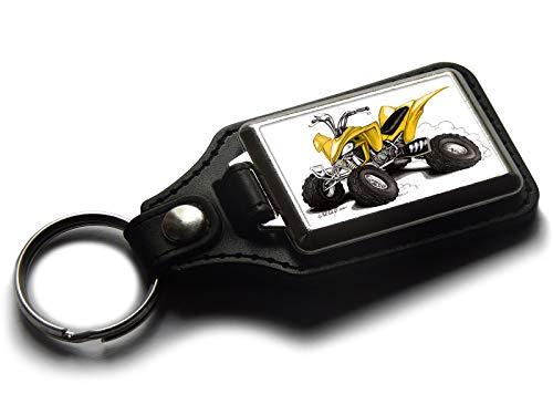 Koolart Cartoon Quad Bike ATV Qualität Leder und Chrom Schlüsselanhänger Farbe wählbar, gelb
