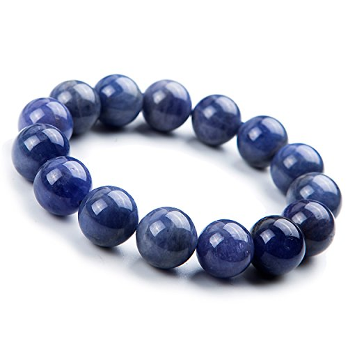 14mm Natural Blue Tanzanite Zoisite Gemstone Stretch Round Bead Crystal Bracelet
