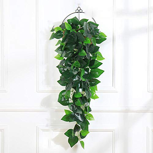 Artificial Flower Artificial Green Leaf Hanging Plants 1Pcs Greenery Leaf Silk Fake Plant Decor Jungle Party Artificials Para Decoration 38 Inches