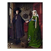 Weitaian 有名な絵画ヴァンエイクアルノルフィーニ結婚式の肖像画キャンバス絵画ポスター印刷壁アート写真壁の家の装飾-20X30インチフレームなし