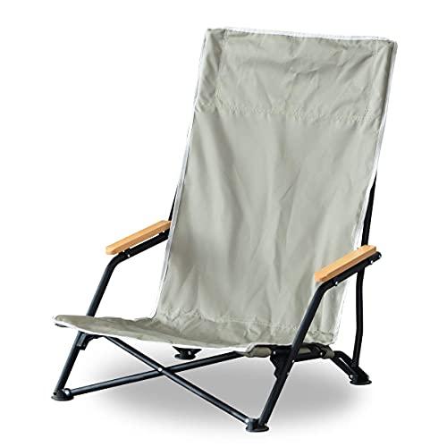 FIELDOOR フィールドチェア ハイバック T/C 【カーキ】 難燃 焚き火 ロースタイル ハイバック 座椅子 あぐら ひじ掛け 折りたたみ 簡単設置 ソロキャンプ 耐荷重 120kg アウトドアチェア