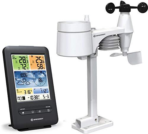 Bresser Wetterstation Funk mit Außensensor WLAN Farb-Wetter Center 5-in-1 mit Außensensor für Temperatur, Luftfeuchtigkeit, Luftdruck, Windmesser und Regenmesser, Schwarz