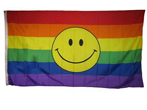 Trade Winds 3x5 Rainbow Smiley Face Gay Pride LGBTQ Rough Tex Knitted Flag 3'x5' Banner Premium Fade Resistant