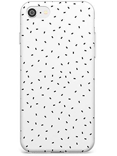 Case Warehouse Confeti (Blanco) Estuche Delgado para iPhone SE | Claro Silicona TPU Protector Ligero Ultra Thin Cubrir Patrón Impreso | Mínimo Lindo Sencillo Resumen Líneas