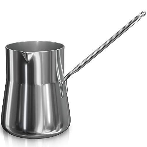 Turkish Coffee Pot, Warmer milk, Ibrik Cezve Arabic Briki Coffee Pot, Stainless Steel, 15 Ounce, Espresso Coffee Decanter
