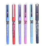Juan-375 Bolígrafos Stick 6 / 7pcs / Set 0.5mm Roller Pen Black/Red/Blue Color Tinta Líquido Recto Rollerball Gel Pluma para la Oficina de la Escuela Papelería para Principiantes en caligrafía