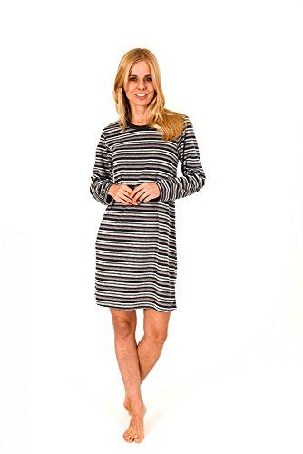 Normann Copenhagen Damen Frottee Nachthemd Langarm - Streifendessin - auch in Übergrössen - 213 93 235, Größe:36/38;Farbe:anthrazit-Melange