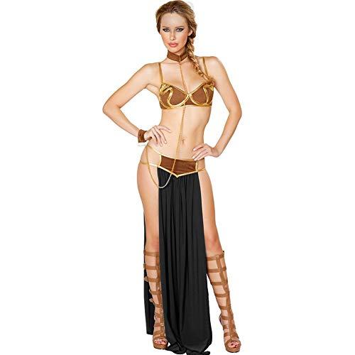 ZLLZM Damen Sexy Königin Cosplay Kostüme Deluxe Ägypten Langer Rock for Halloween Karneval Partei,Schwarz,M