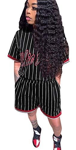Women 2 Piece Outfit Sets Casual T-Shirt Tops Biker Shorts Workout Sports Tracksuit Black M