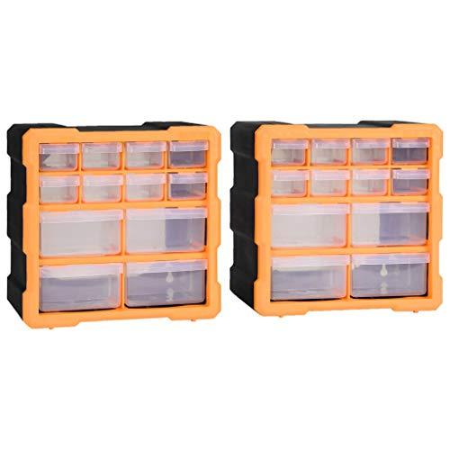 vidaXL 2X Multi-Schubladen-Organizer 12 Schubladen Sortierkasten Sortimentskoffer Sortimentskasten Sortimentsbox Kleinteilemagazin 26,5x16x26cm