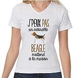 Beagle   Désolé Je Peux Pas   T-Shirt Femme col V Humour Fun Drôle et Mignon - Collection Animaux...