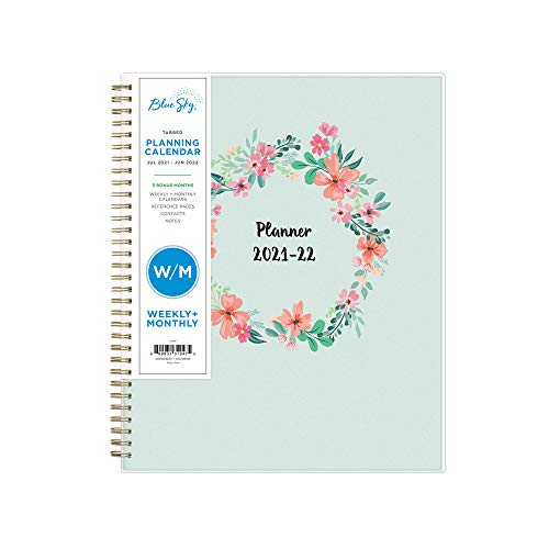 """Blue Sky 2021-2022 Academic Year Weekly & Monthly Planner, 8.5"""" x 11"""", Frosted Flexible Cover, Wirebound, Laurel (131947)"""