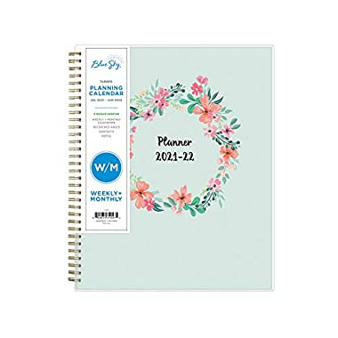 Blue Sky 2021-2022 Academic Year Weekly & Monthly Planner, 8.5″ x 11″, Frosted Flexible Cover, Wirebound, Laurel (131947)