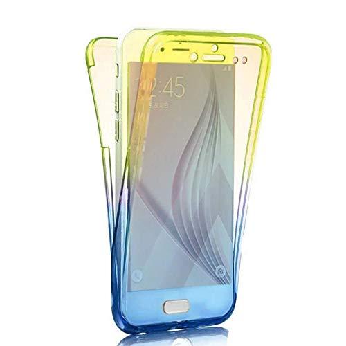 Homikon Silikon Hülle 360 Grad Fullbody Durchsichtige Gradient Handyhülle Ganzkörper-Koffer Vorder und Rückseiten Schutzhülle Case Cover Tasche Kompatibel mit Samsung Galaxy A20e - Gelb Blau