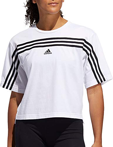 adidas Women's Must Haves Ringer 3-Stipes T-Shirt (Coral/White, XS)