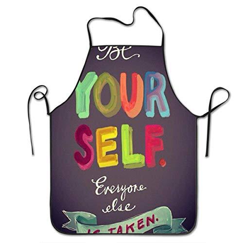 Niet van toepassing Keuken schorten Wees uw Zelf Chef Schort Keuken schorten Bakken Print Verstelbare Unisex Keuken Bib Schort Koken Tuinieren Mannen Vrouwen