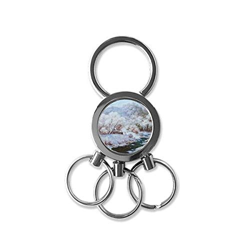 Winter Snow Covered Forest And Lake Realism Oil Schools Of Impression Painting Metal Key Chain Ring Car Keychain Creative Trinket Keyring Novelty Item Best Charm Gift