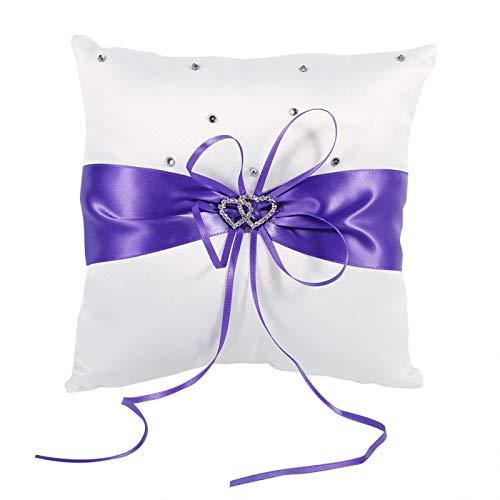YUMILI Almohada de Anillo de Bodas, BiuZi 4 Colores Suministros de Boda Funda de cojín de Almohada para Portador de Anillo con Mancha de Lazo Diamantes de Doble corazón(Violeta)
